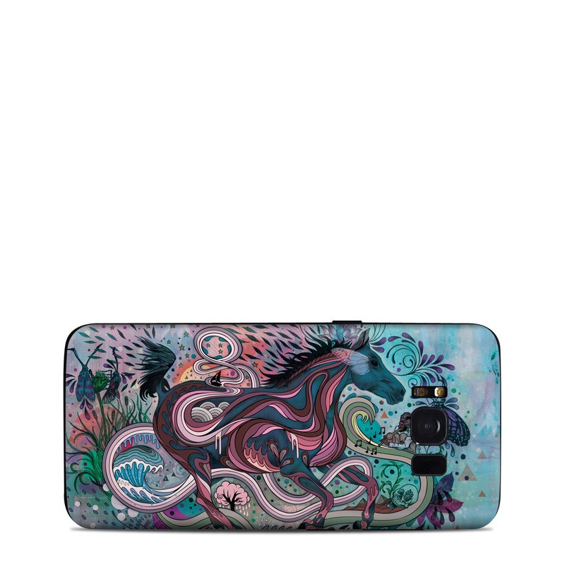 Samsung Galaxy S8 Skin design of Illustration, Art, Visual arts, Graphic design, Fictional character, Psychedelic art, Pattern, Drawing, Painting, Mythology with gray, black, blue, red, purple colors