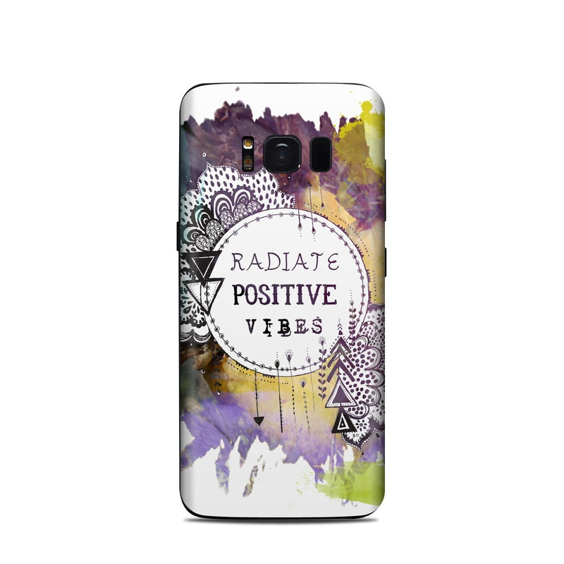 Samsung Galaxy S8 Skin design of Text, Watercolor paint, Illustration, Graphic design, Graphics, Paint, Art with purple, black, brown, blue, green, white, yellow colors