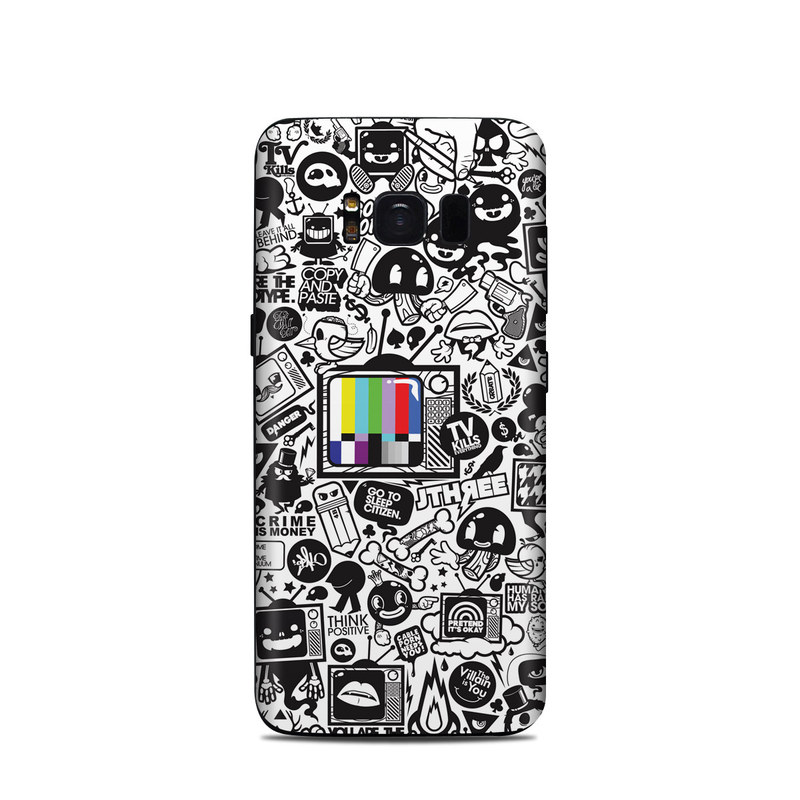 Samsung Galaxy S8 Skin design of Pattern, Drawing, Doodle, Design, Visual arts, Font, Black-and-white, Monochrome, Illustration, Art with gray, black, white colors