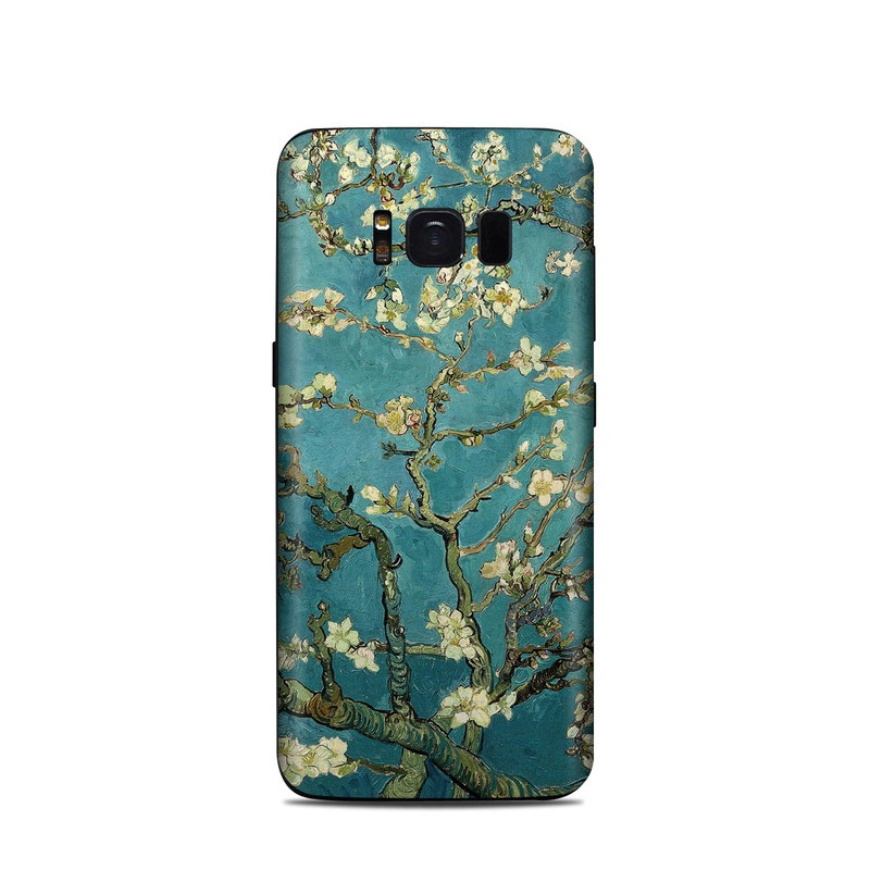 Samsung Galaxy S8 Skin design of Tree, Branch, Plant, Flower, Blossom, Spring, Woody plant, Perennial plant with blue, black, gray, green colors