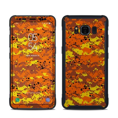 Digital Orange Camo Samsung Galaxy S8 Active Skin