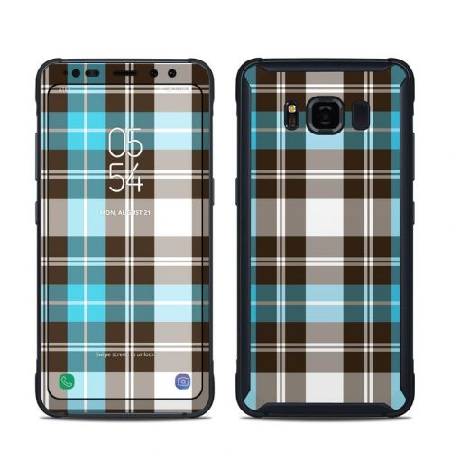 Turquoise Plaid Samsung Galaxy S8 Active Skin