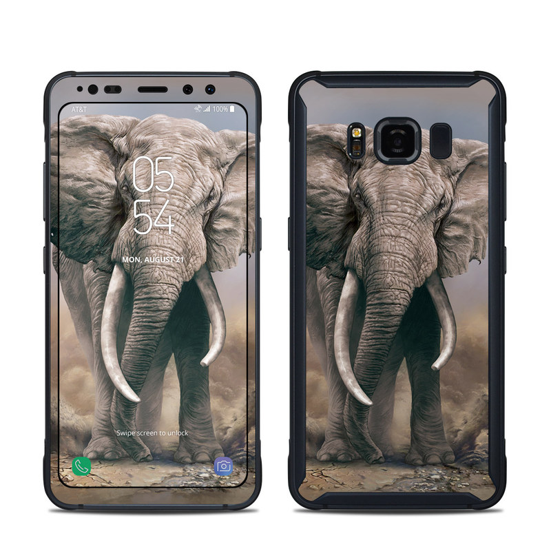 Samsung Galaxy S8 Active Skin design of Elephants and Mammoths, Terrestrial animal, Indian elephant, African elephant, Wildlife, Tusk, Snout, Organism, Working animal, Illustration with brown, gray, white colors