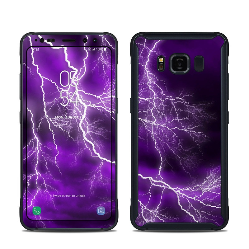 Samsung Galaxy S8 Active Skin design of Thunder, Lightning, Thunderstorm, Sky, Nature, Purple, Violet, Atmosphere, Storm, Electric blue with purple, black, white colors