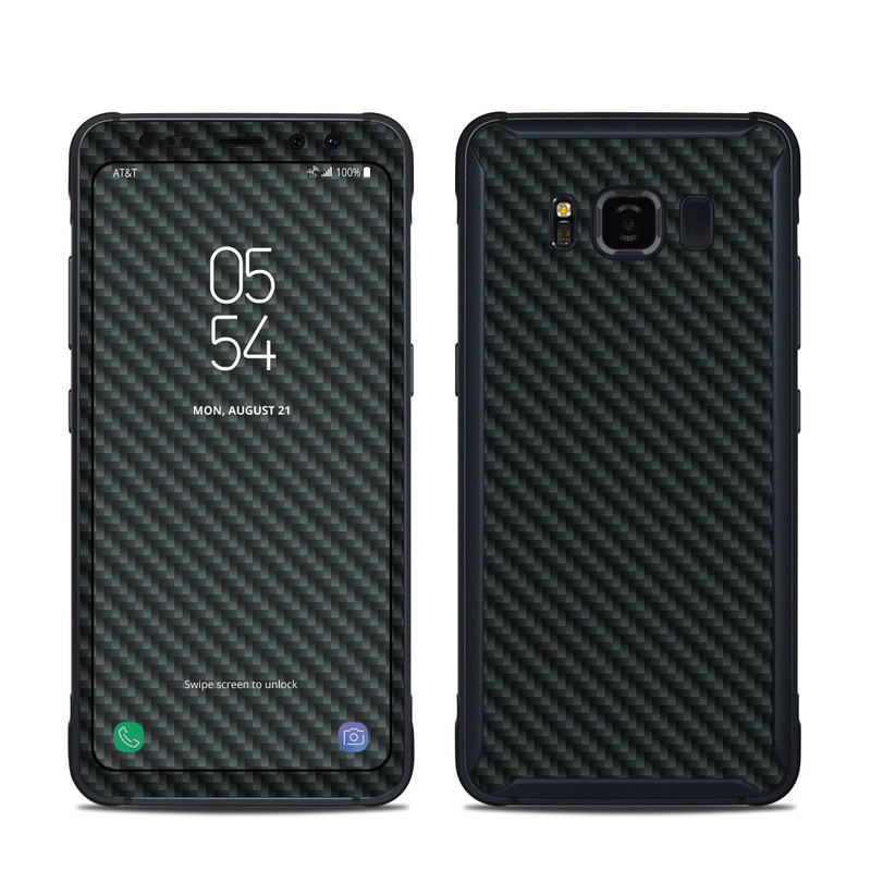 Samsung Galaxy S8 Active Skin design of Green, Black, Blue, Pattern, Turquoise, Carbon, Textile, Metal, Mesh, Woven fabric with black colors