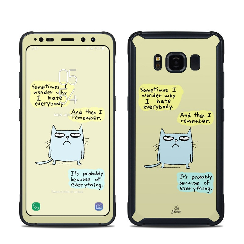 Samsung Galaxy S8 Active Skin design of Cartoon, Facial expression, Text, Cat, Whiskers, Photo caption, Snout, Line, Font, Organism with blue, green, yellow colors
