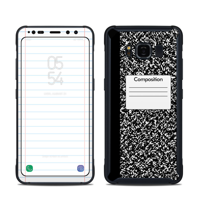 Samsung Galaxy S8 Active Skin design of Text, Font, Line, Pattern, Black-and-white, Illustration with black, gray, white colors