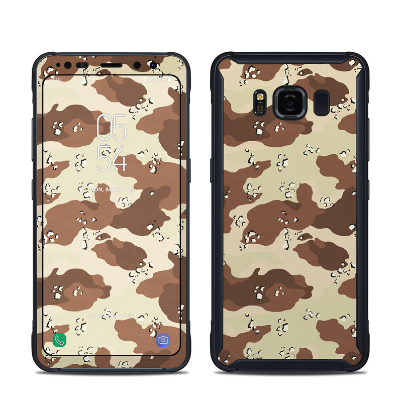 Samsung Galaxy S8 Active Skin design of Military camouflage, Brown, Pattern, Design, Camouflage, Textile, Beige, Illustration, Uniform, Metal with gray, red, black, green colors