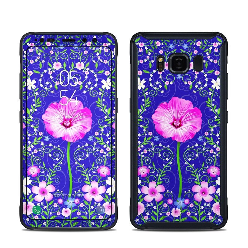 Samsung Galaxy S8 Active Skin design of Purple, Violet, Flower, Plant, Wildflower, Pattern, Petal, Design, Graphics, Morning glory with blue, purple, pink, green, white, yellow colors
