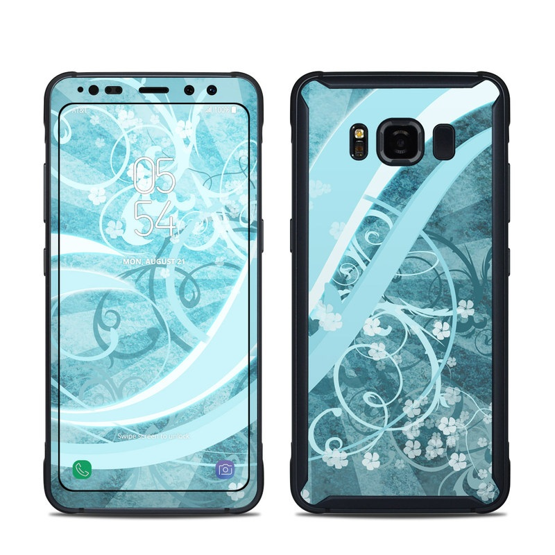 Samsung Galaxy S8 Active Skin design of Aqua, Blue, Turquoise, Pattern, Teal, Text, Circle, Design, Graphic design, Wallpaper with gray, blue, purple colors