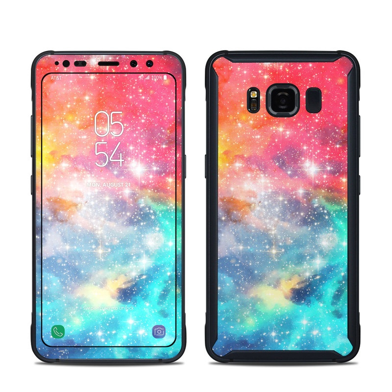 Samsung Galaxy S8 Active Skin design of Nebula, Sky, Astronomical object, Outer space, Atmosphere, Universe, Space, Galaxy, Celestial event, Star with white, black, red, orange, yellow, blue colors