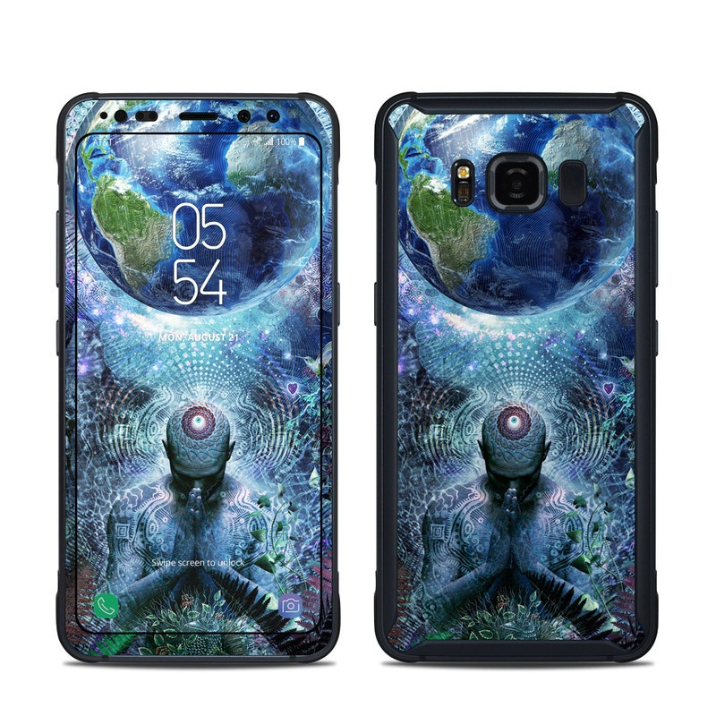 Samsung Galaxy S8 Active Skin design of Psychedelic art, Fractal art, Art, Space, Organism, Earth, Sphere, Graphic design, Circle, Graphics with blue, green, gray, purple, pink, black, white colors