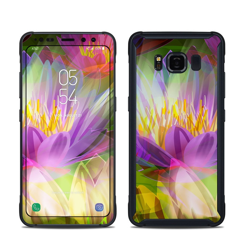 Samsung Galaxy S8 Active Skin design of Flowering plant, Flower, Petal, Violet, Aquatic plant, Purple, water lily, Plant, Botany, Close-up with gray, green, black, purple, red colors