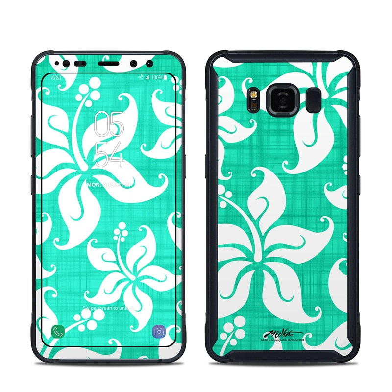 Samsung Galaxy S8 Active Skin design of Green, Aqua, Pattern, Teal, Turquoise, Wrapping paper, Design, Visual arts, Motif with blue, white, gray, green colors