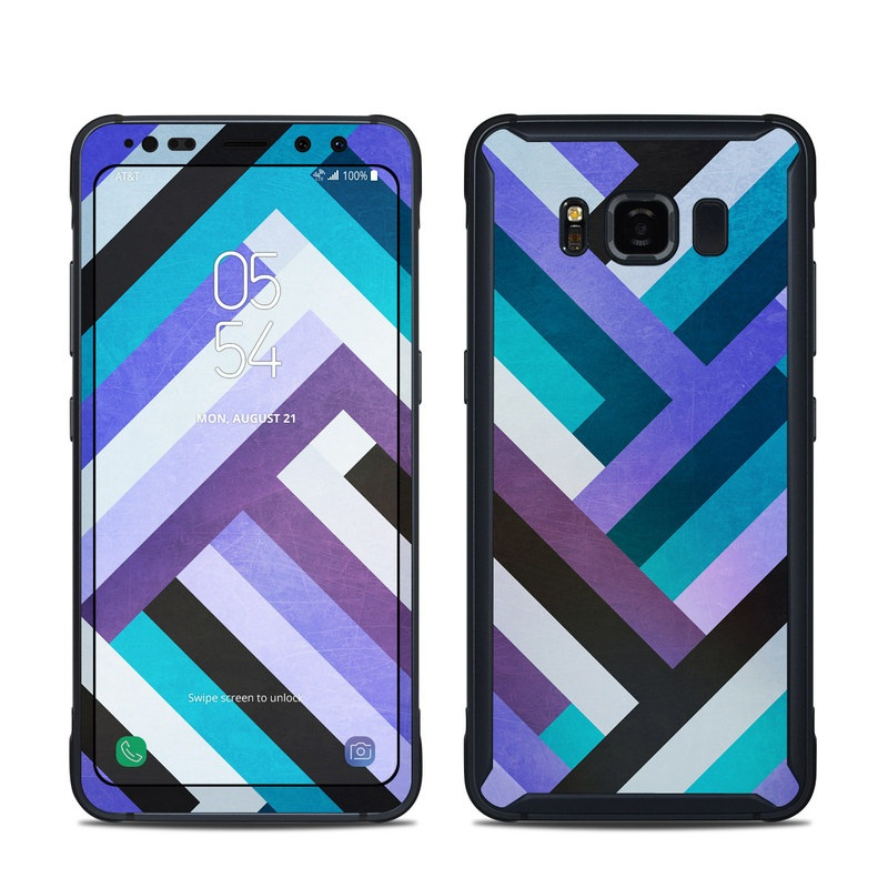 Samsung Galaxy S8 Active Skin design of Pattern, Turquoise, Aqua, Purple, Violet, Teal, Blue, Line, Azure, Design with blue, purple, black, white colors
