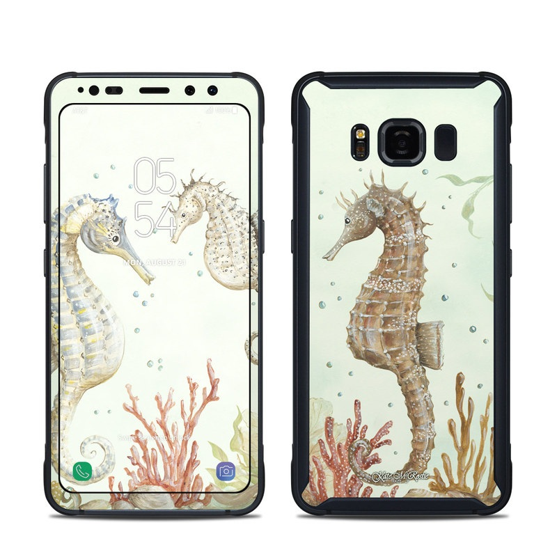 Samsung Galaxy S8 Active Skin design of Seahorse, Syngnathiformes, Northern Seahorse, Fish, Organism, Design, Illustration, Pattern, Wildlife, Wallpaper with gray, yellow, green, red colors