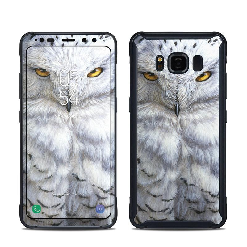 Samsung Galaxy S8 Active Skin design of Owl, Bird, Bird of prey, Snowy owl, great grey owl, Close-up, Eye, Snout, Wildlife, Eastern Screech owl with gray, white, black, blue, purple colors