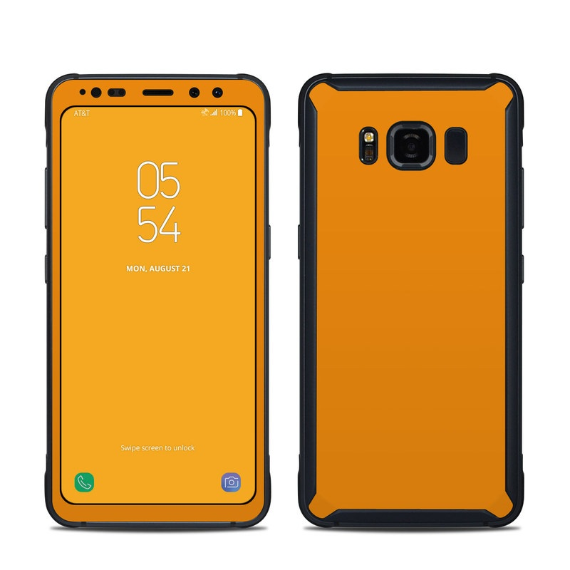 Samsung Galaxy S8 Active Skin design of Orange, Yellow, Brown, Text, Amber, Font, Peach with orange colors