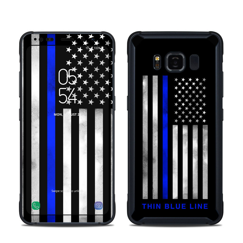 Samsung Galaxy S8 Active Skin design of Line, Flag, Text, Flag of the united states, Font, Parallel, Symmetry, Black-and-white, Pattern, Graphics with black, white, gray, blue colors