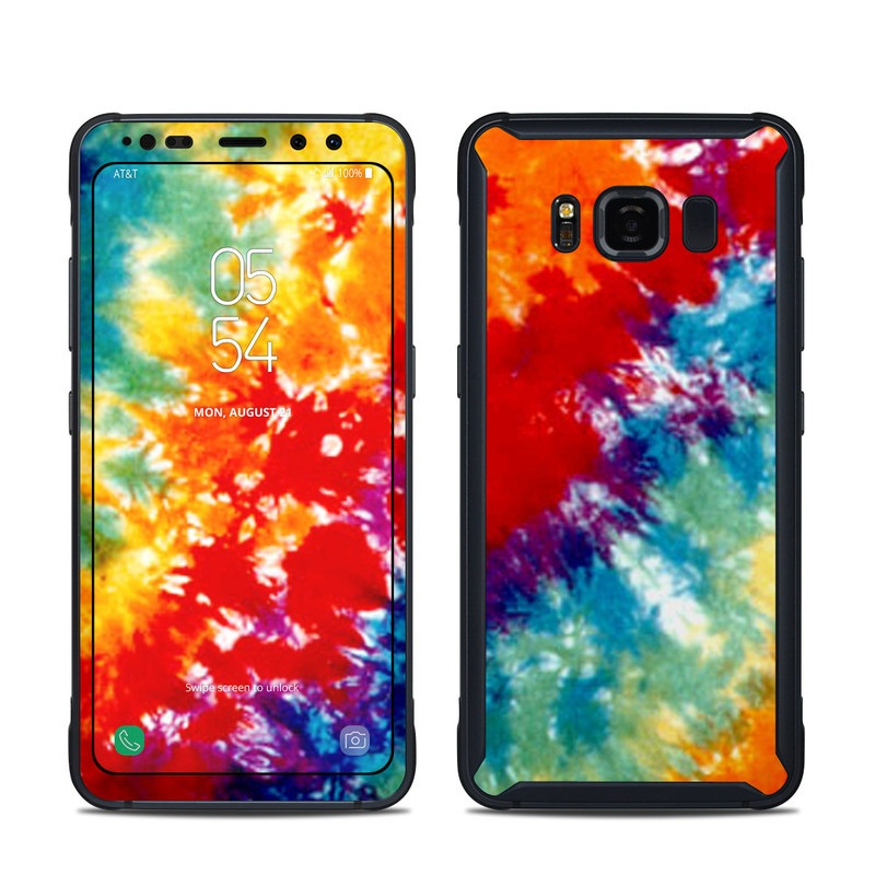 Samsung Galaxy S8 Active Skin design of Orange, Watercolor paint, Sky, Dye, Acrylic paint, Colorfulness, Geological phenomenon, Art, Painting, Organism with red, orange, blue, green, yellow, purple colors