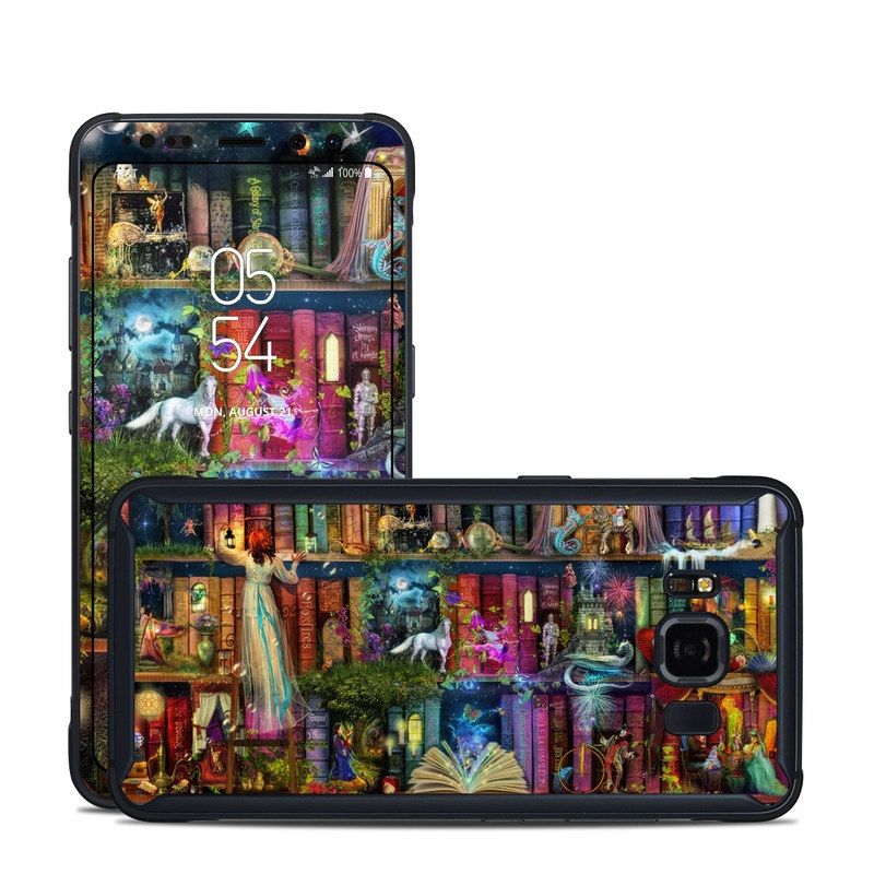 Samsung Galaxy S8 Active Skin design of Painting, Art, Theatrical scenery with black, red, gray, green, blue colors