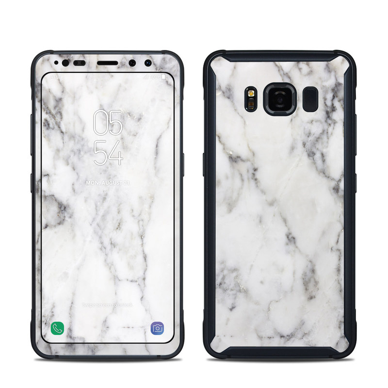 Samsung Galaxy S8 Active Skin design of White, Geological phenomenon, Marble, Black-and-white, Freezing with white, black, gray colors