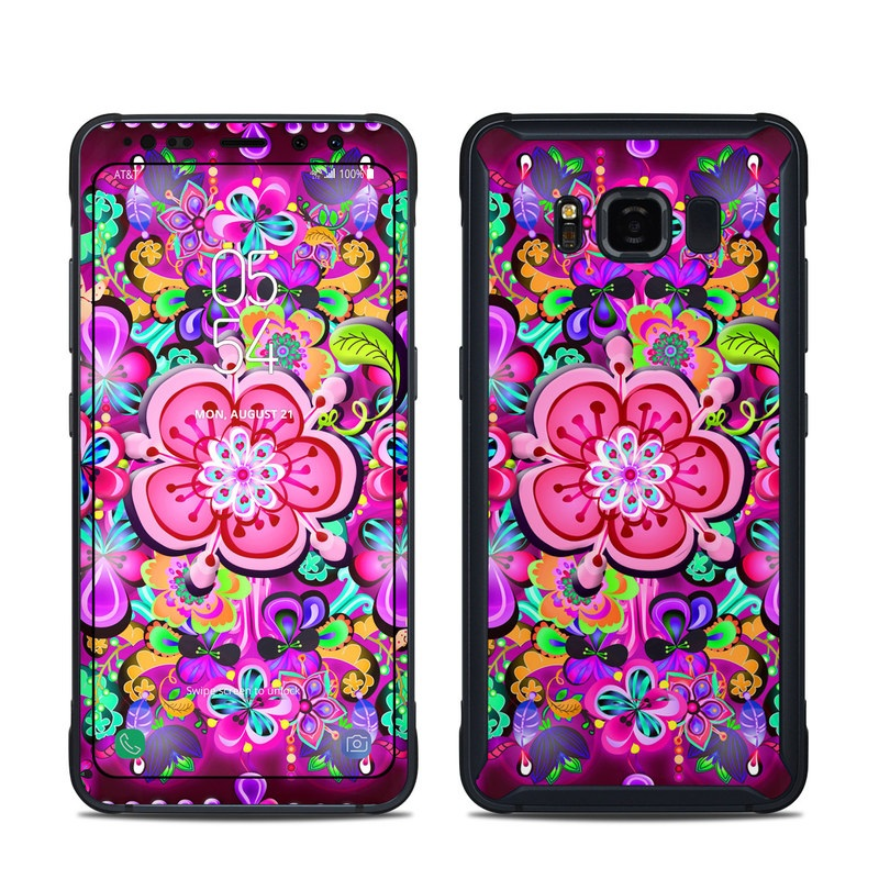 Samsung Galaxy S8 Active Skin design of Pattern, Pink, Design, Textile, Magenta, Art, Visual arts, Paisley with purple, black, red, gray, blue colors