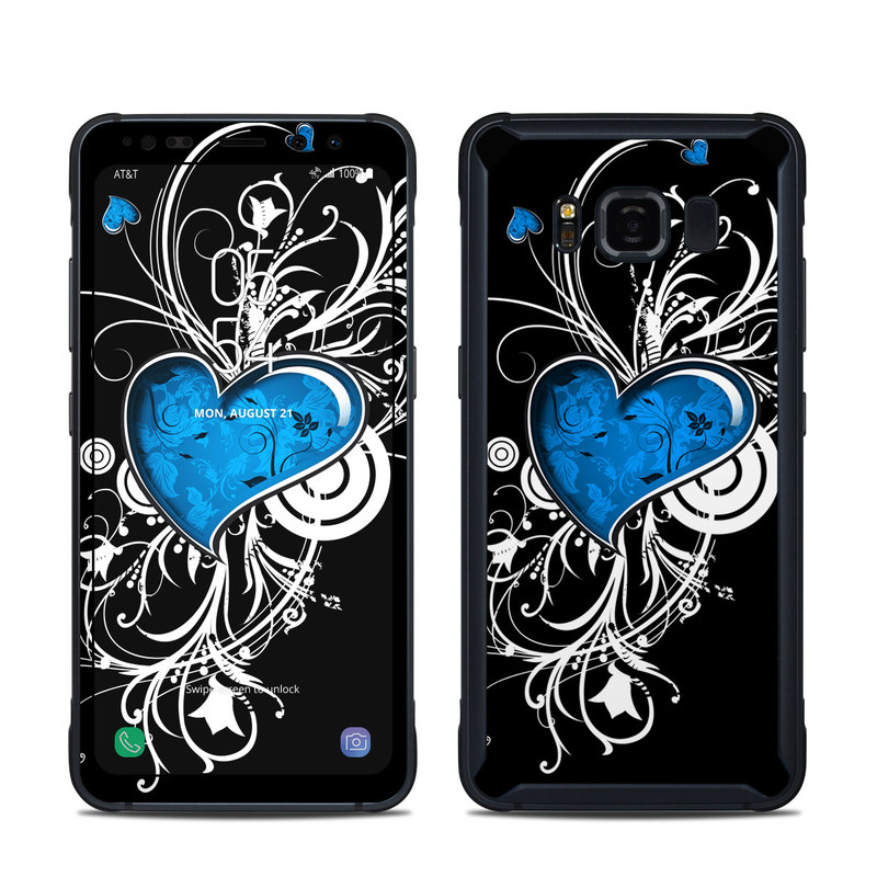 Samsung Galaxy S8 Active Skin design of Graphic design, Heart, Design, Graphics, Illustration, Pattern, Plant, Visual arts, Art with black, gray, blue, white colors