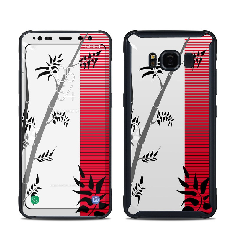 Samsung Galaxy S8 Active Skin design of Botany, Plant, Branch, Plant stem, Tree, Bamboo, Pedicel, Black-and-white, Flower, Twig with gray, red, black, white colors