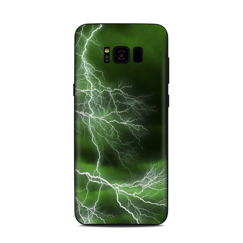 Samsung Galaxy S8 Plus Skin design of Thunderstorm, Thunder, Lightning, Nature, Green, Water, Sky, Atmosphere, Atmospheric phenomenon, Daytime with green, black, white colors