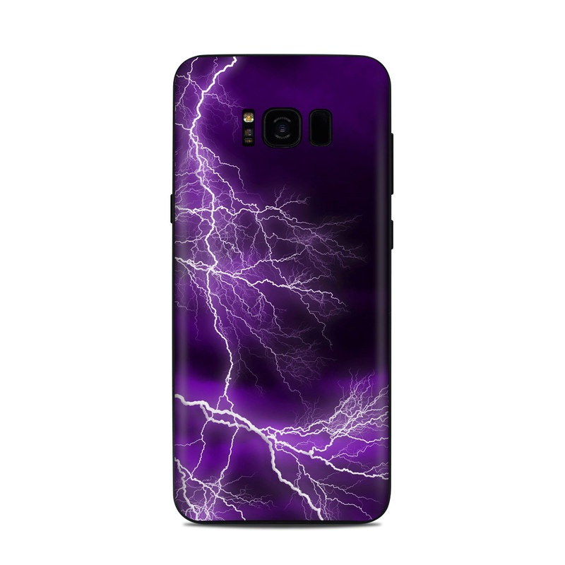 Samsung Galaxy S8 Plus Skin design of Thunder, Lightning, Thunderstorm, Sky, Nature, Purple, Violet, Atmosphere, Storm, Electric blue with purple, black, white colors
