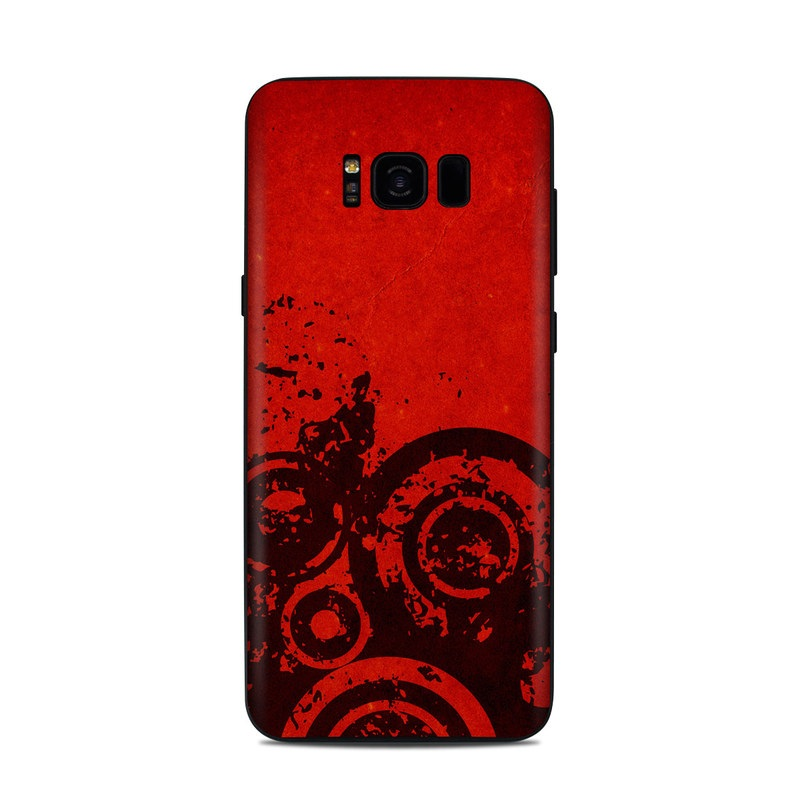 Samsung Galaxy S8 Plus Skin design of Red, Circle, Pattern, Design, Visual arts, Font, Graphics, Graphic design, Art, Still life photography with red, black colors