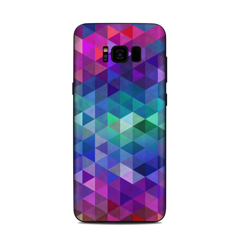 Samsung Galaxy S8 Plus Skin design of Purple, Violet, Pattern, Blue, Magenta, Triangle, Line, Design, Graphic design, Symmetry with blue, purple, green, red, pink colors