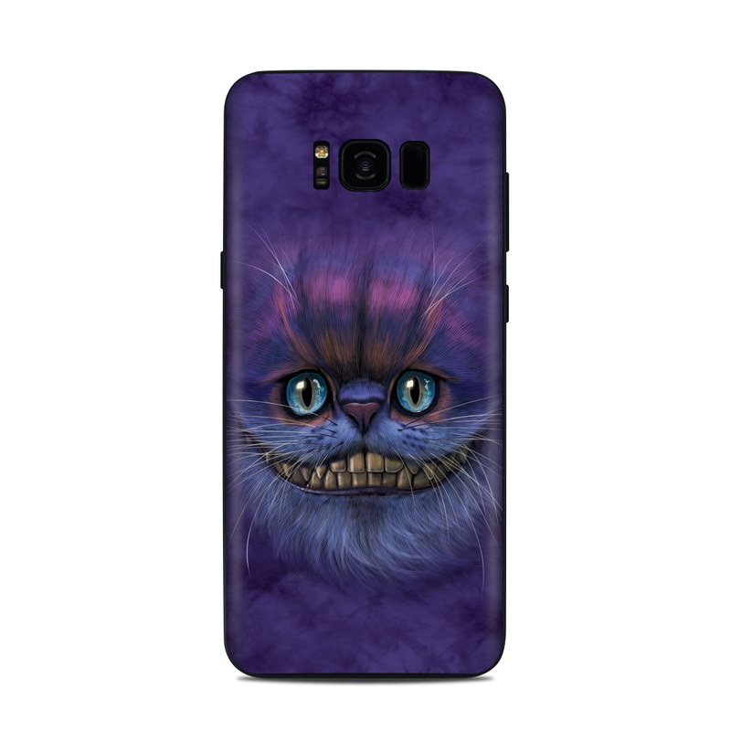 Samsung Galaxy S8 Plus Skin design of Cat, Whiskers, Felidae, Small to medium-sized cats, Snout, Eye, Illustration, Ojos azules, Black cat, Carnivore with purple, blue colors