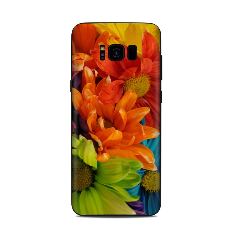 Samsung Galaxy S8 Plus Skin design of Flower, Petal, Orange, Cut flowers, Yellow, Plant, Bouquet, Floral design, Flowering plant, Gerbera with red, green, black, blue colors