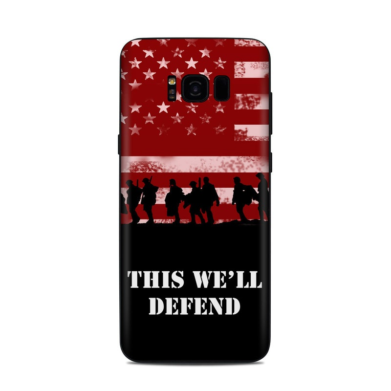 Samsung Galaxy S8 Plus Skin design of Red, Flag, Font, Veterans day, Crowd, Illustration, Silhouette, Red flag with red, black, gray, pink colors
