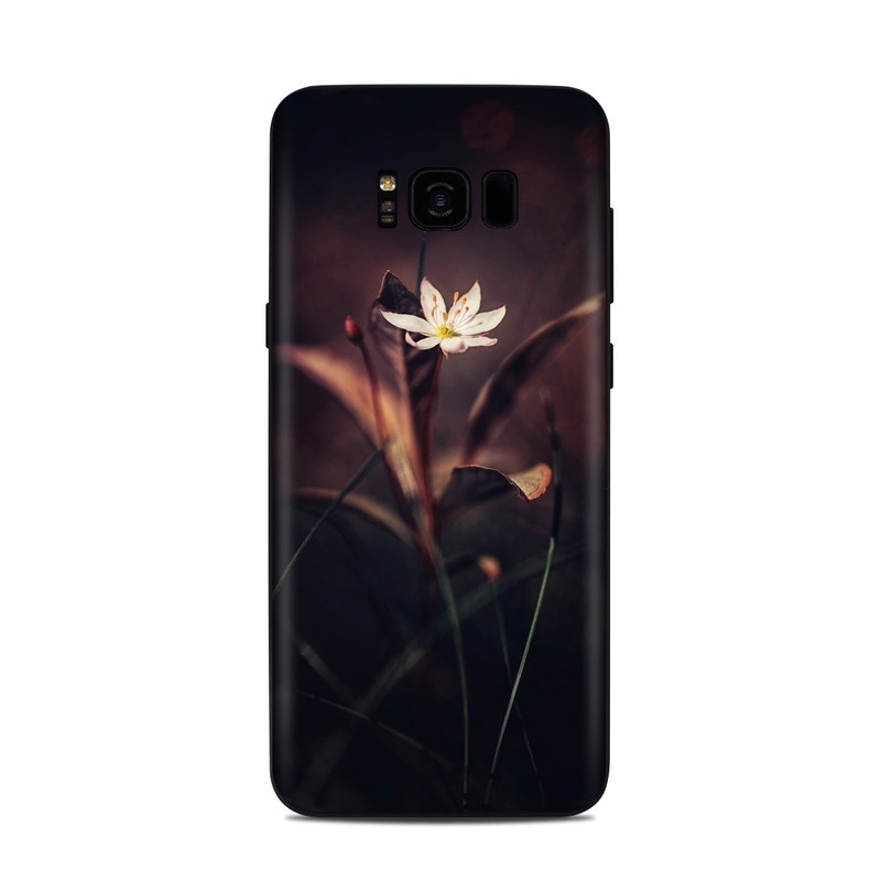 Samsung Galaxy S8 Plus Skin design of Flower, Yellow, Light, Plant, Sky, Still life photography, Wildflower, Petal, Darkness, Spring with black, red colors