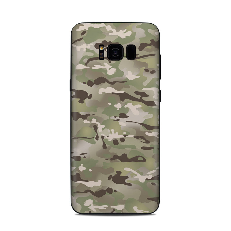 Samsung Galaxy S8 Plus Skin design of Military camouflage, Camouflage, Pattern, Clothing, Uniform, Design, Military uniform, Bed sheet with gray, green, black, red colors