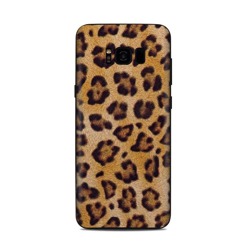 Samsung Galaxy S8 Plus Skin design of Pattern, Felidae, Fur, Brown, Design, Terrestrial animal, Close-up, Big cats, African leopard, Organism with orange, black colors
