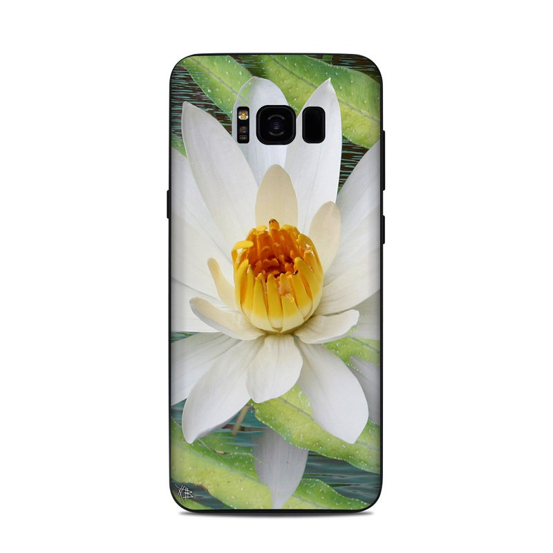 Samsung Galaxy S8 Plus Skin design of fragrant white water lily, Petal, Flower, White, Aquatic plant, Sacred lotus, Lotus, Lotus family, water lily, Plant with gray, green, black, blue, purple colors