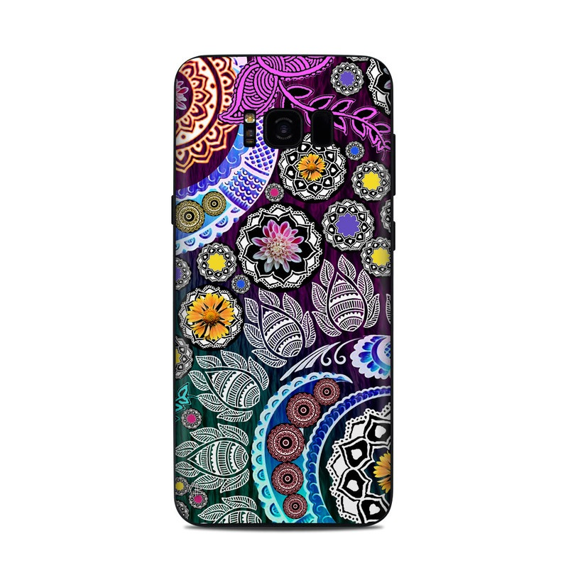 Samsung Galaxy S8 Plus Skin design of Pattern, Psychedelic art, Art, Visual arts, Design, Floral design, Textile, Motif, Circle, Illustration with black, gray, purple, blue, green, red colors
