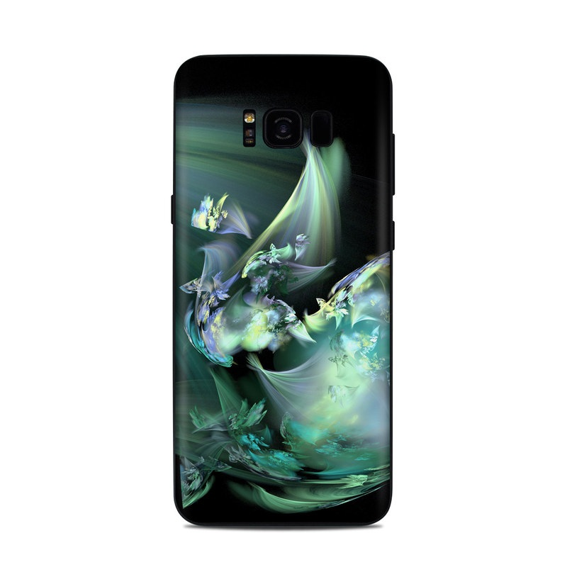 Samsung Galaxy S8 Plus Skin design of Fractal art, Cg artwork, Fictional character, Organism, Graphic design, Graphics, Art, Photography, Mythical creature, Dragon with black, blue, gray, green colors