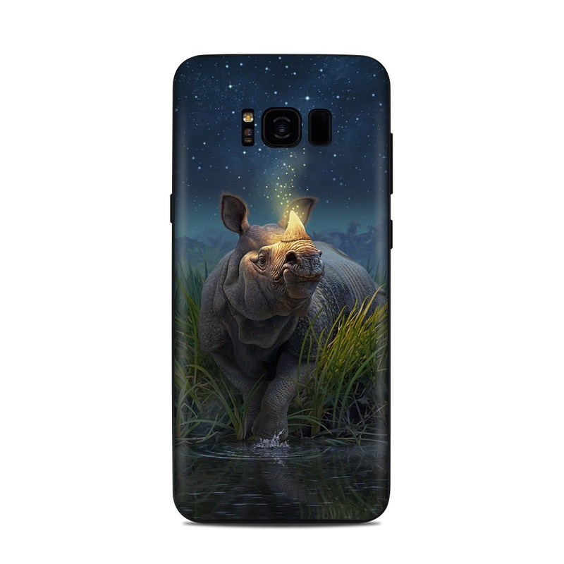 Samsung Galaxy S8 Plus Skin design of Wildlife, Sky, Photography, Grass, Fawn with blue, green, gray, yellow, white colors