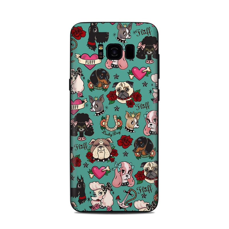 Samsung Galaxy S8 Plus Skin design of Cartoon, Pattern, Illustration, Design, Crowd, Textile, Art with blue, brown, red, white, black, green, gray colors