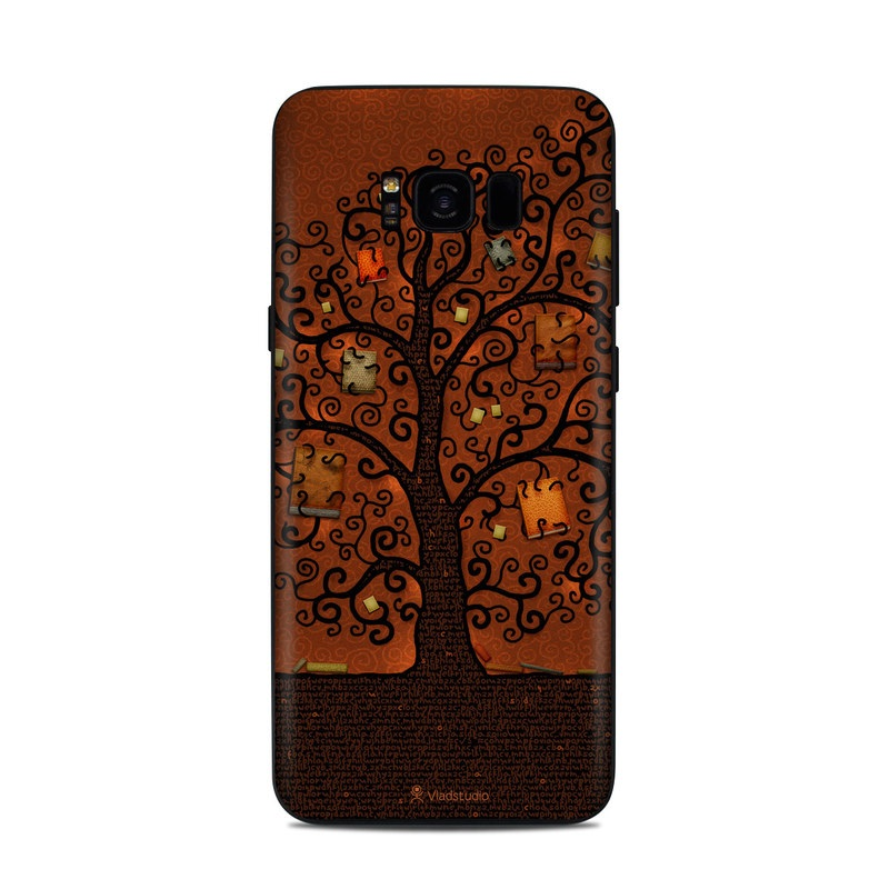 Samsung Galaxy S8 Plus Skin design of Tree, Brown, Leaf, Plant, Woody plant, Branch, Visual arts, Font, Pattern, Art with black colors