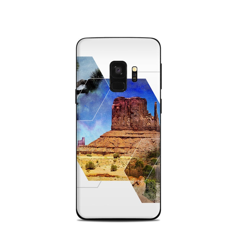 Samsung Galaxy S9 Skin design of Natural landscape, Formation, Rock, Badlands, Geology, Stock photography, Outcrop, National park, Historic site, National monument with white, blue, brown, yellow, green, gray, purple colors