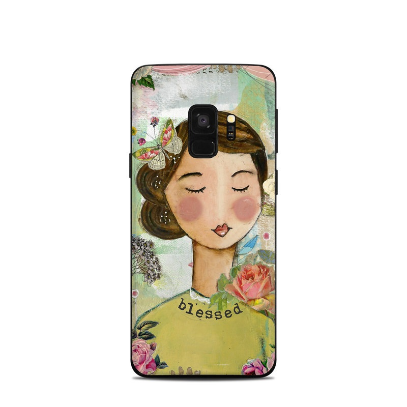 Samsung Galaxy S9 Skin design of Illustration, Cheek, Art, Watercolor paint, Retro style, Painting, Plant, Flower, Fashion illustration, Fictional character with pink, green, yellow, white, red, blue colors