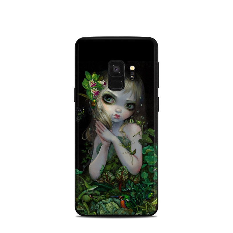 Samsung Galaxy S9 Skin design of Green, Doll, Fictional character, Lip, Plant, Supervillain, Flower, Illustration, Ivy, Fawn with black, white, green, red colors