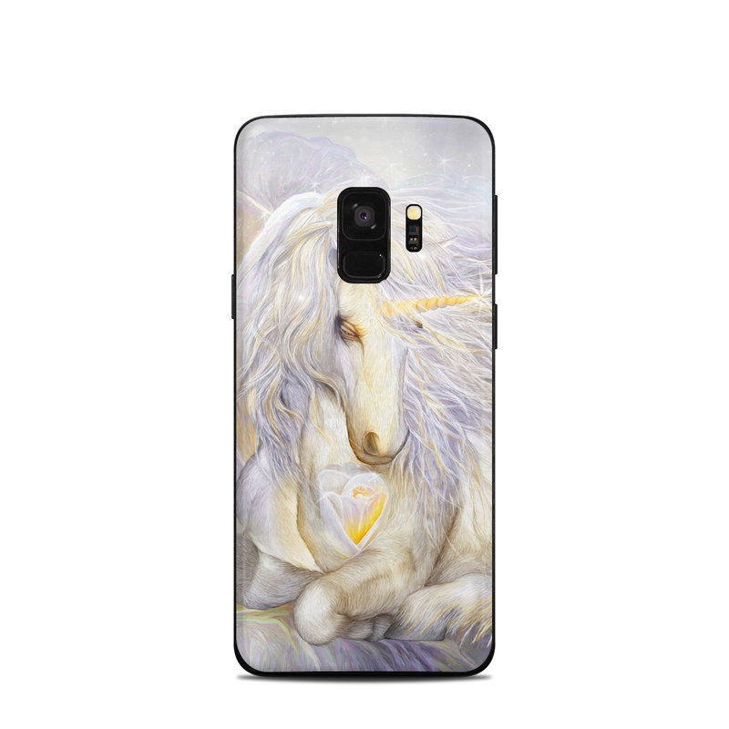 Samsung Galaxy S9 Skin design of Fictional character, Mythical creature, Unicorn, Sky, Mythology, Supernatural creature, Illustration with gray, black, green, pink, blue colors