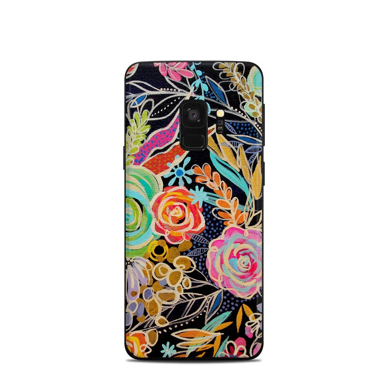 Samsung Galaxy S9 Skin design of Pattern, Floral design, Design, Textile, Visual arts, Art, Graphic design, Psychedelic art, Plant with black, gray, green, red, blue colors